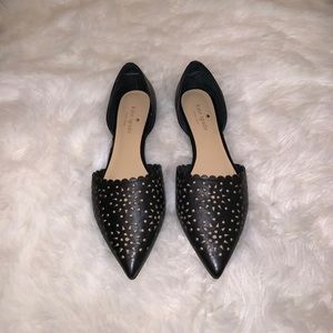 Kate Spade d'orsay point-toe, black leather flats